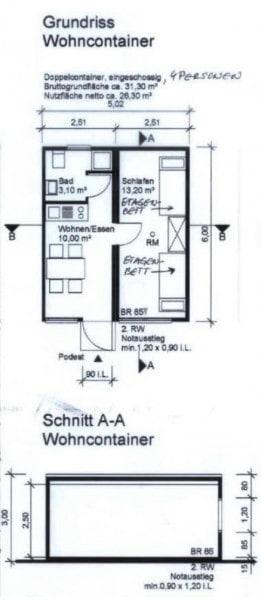 Grundriss Wohncontainer
